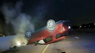 overturned car arkansas