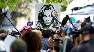A portrait of Britney Spears looms over supporters and media members outside a court hearing
