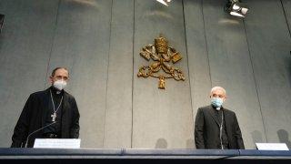 Mons. Filippo Iannone, right, and Mons. Juan Ignacio Arrieta Ochoa de Chinchetru