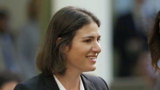 In this Jan. 23, 2020, file photo, Assemblywoman Rebecca Bauer-Kahan, D-Orinda, smiles at the Capitol in Sacramento, Calif. On Thursday, June 24, 2021, the state legislature approved two measures authored by Bauer-Kahan, that will change how the state refers to gender in official documents.