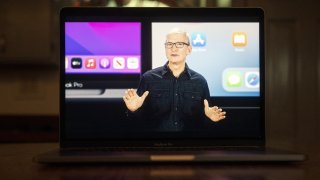 Tim Cook, chief executive officer of Apple Inc., speaks virtually during the Apple Worldwide Developers Conference.