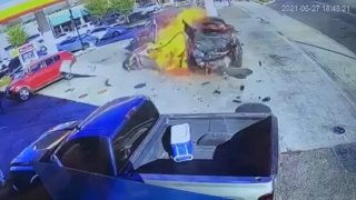 A car crashes into a pump at a gas station in Ceres, Calif.