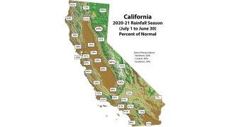 Map of California rainfall totals for 2020-21 season.