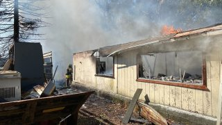 A fire burns in the San Martin area.