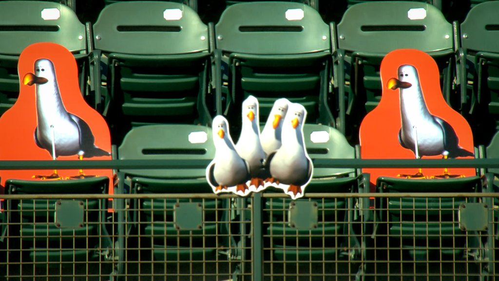 plastic cutouts of cartoon seagulls line the upper deck of a stadium