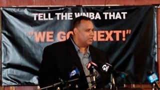 Ray Bobbitt, founder of the African American Sports and Entertainment Group, announces June 18, 2021, that work has begun to bring a WNBA franchise team to play at the Oakland Arena in Oakland, Calif.
