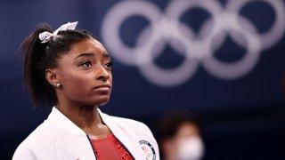 USA's Simone Biles looks on