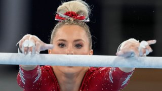 MyKayla Skinner, of the United States, performs on the uneven bars during the women's artistic gymnastic qualifications at the 2020 Summer Olympics, Sunday, July 25, 2021, in Tokyo.