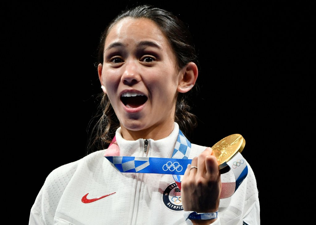 Gold medallist USA's Lee Kiefer observe  connected  podium during the medal ceremonial  for the women's foil idiosyncratic  during the Tokyo 2020 Olympic Games astatine  the Makuhari Messe Hall successful  Chiba City, Chiba Prefecture, Japan, connected  July 25, 2021.