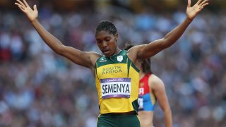 Caster Semenya of South Africa competes in the heats of the women's 800m, during the 2012 London Olympics at The Olympic Stadium on August 09, 2012 in London, England.