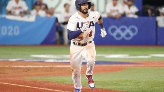 Eddy Alvarez of Team USA runs for a base during the baseball opening round Group B game between Team South Korea and Team United States on day eight of the Tokyo 2020 Olympic Games at Yokohama Baseball Stadium on July 31, 2021 in Yokohama, Kanagawa, Japan.