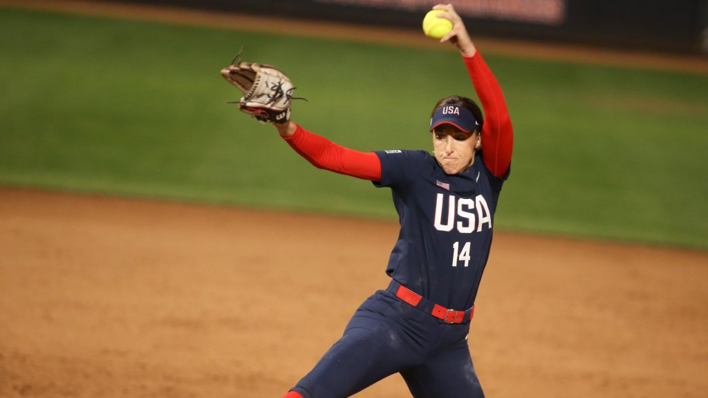United States pitcher Monica Abbott (14) pitches during an exhibition softball game.