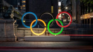 The Olympic Rings are displayed in Tokyo's Nihonbashi district