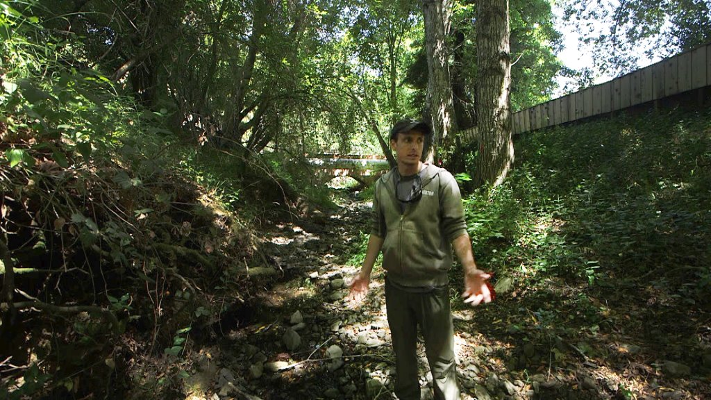 Preston Brown of the group SPAWN stands in dried-up Arroyo Creek near Lagunitas.
