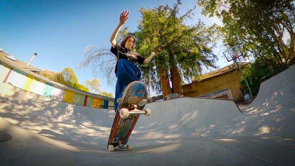Skateboarder demonstrating an ollie