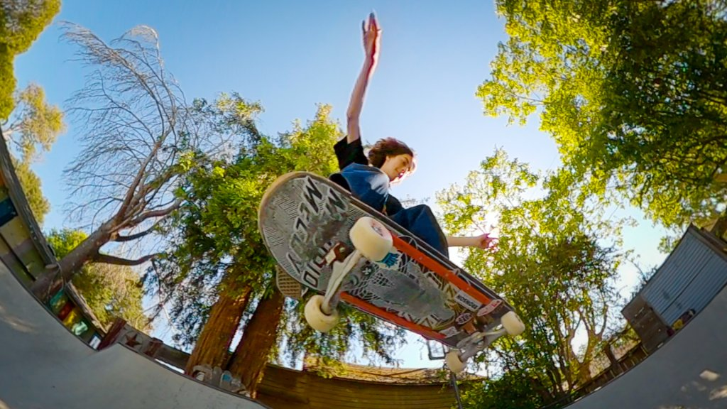 skateboarder in mid air