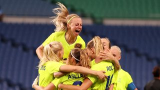 Fridolina Rolfo celebrates the second of her goals for Sweden versus Australia