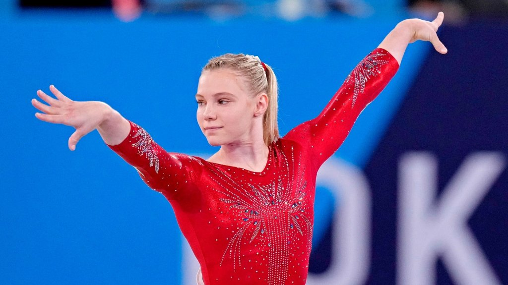 Jade Carey competes connected  the level  successful  the women's gymnastics qualifications during the Tokyo 2020 Olympics