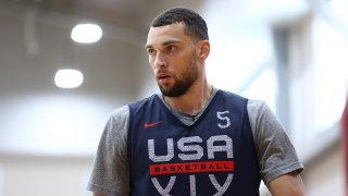 LAS VEGAS, NV - JULY 9: Zach LaVine #5 of the USA Men's National Team looks on during practice for training camp on July 9, 2021 at Mendenhall Center in Las Vegas, Nevada.