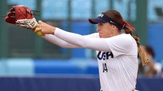 Team USA softball starting pitcher Monica Abbott pitches