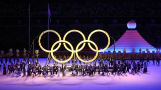 The Olympic rings are shown during the Tokyo Olympics Opening Ceremony.