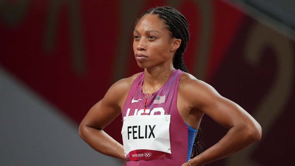 Allyson Felix, of the United States, prepares to start in a semifinal of the women's 400-meters at the 2020 Summer Olympics, Wednesday, Aug. 4, 2021, in Tokyo.