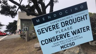 Signs alert visitors to the severe drought in Mendocino, Calif