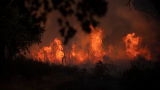A fire rages near Le Luc, southern France, Tuesday, Aug. 17, 2021. Thousands of people fled homes, campgrounds and hotels near the French Riviera on Tuesday as firefighters battled a blaze that raced through nearby forests, sending smoke pouring down wooded slopes toward vineyards in the picturesque area.