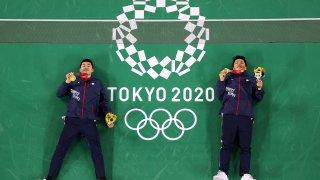 Chinese Taipei men's badminton gold medalists Wang Chi-Lin, left and Lee Yang.