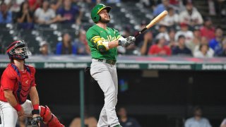 Jed Lowrie Homer Oakland Athletics at Cleveland Indians