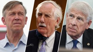 Senators John Hickenlooper (left), Angus King (center) and Roger Wicker (right)