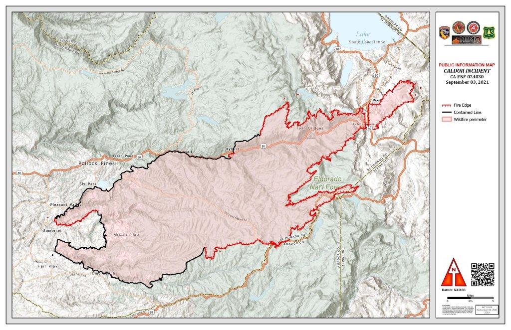 Caldor Fire burn map.