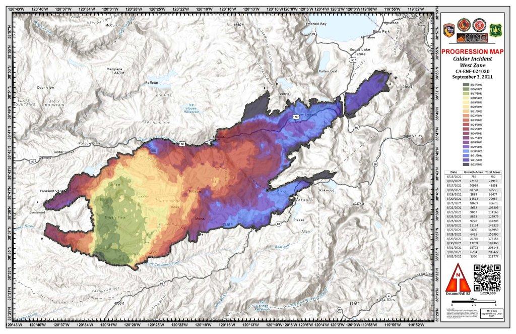 Caldor Fire burn progression map.