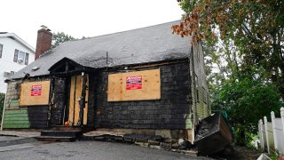 A home that was seriously damaged by fire is seen