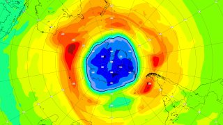 Map of the ozone hole over the South Pole on 16 September 2021