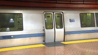 A BART train at a station in San Francisco.