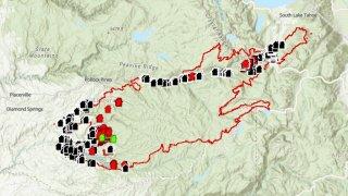 Caldor Fire structure status map.
