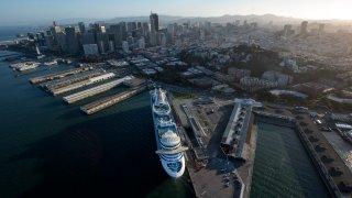 A cruise ship docked in San Francisco.