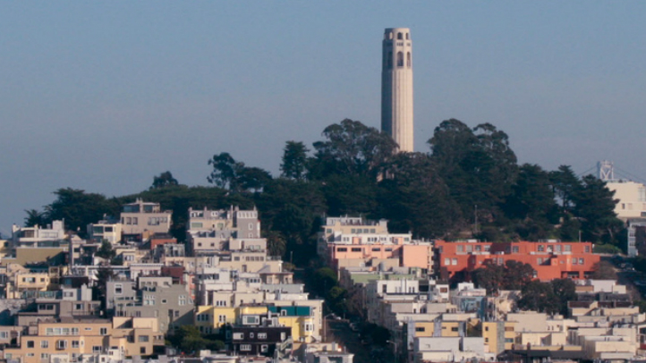 A view from San Francisco's Lombard street looking towards Coit Tower on Jan 17, 2009.