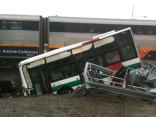 Amtrak Train Rips AC Transit Bus in Half