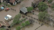 Aerial footage from SkyRanger show rising floodwaters that have left horses stranded in San Jose.