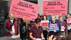Protesters Seek 'Pink Slip' For Embattled Judge