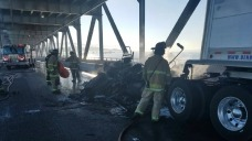 Tractor Trailer Fire on Richmond-San Rafael Bridge