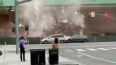 Wall Crashes Down Near Traffic in Vallco Mall Demolition