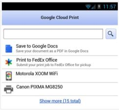 Google Cloud Prints to Android and FedEx