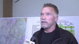 RAW: Ex-Governor Schwarzenegger Visits Firefighters in Chico