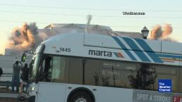 Bus Ruins Perfect Shot of Super Dome Implosion