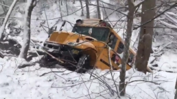 School Bus Slides Off Snowy Maryland Road