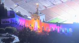 LA Landmarks Glow Ahead of 2028 Olympics Announcement