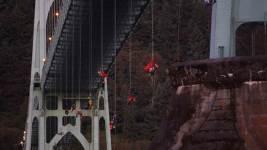 Greenpeace Protesters Dangle From Portland Bridge